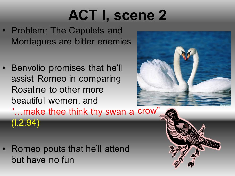 ACT I, scene 2 Problem: The Capulets and Montagues are bitter enemies Benvolio promises that he'll assist Romeo in comparing Rosaline to other more be