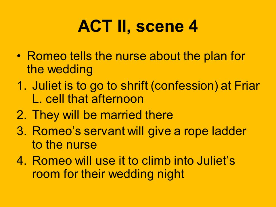 ACT II, scene 4 Romeo tells the nurse about the plan for the wedding 1.Juliet is to go to shrift (confession) at Friar L. cell that afternoon 2.They w