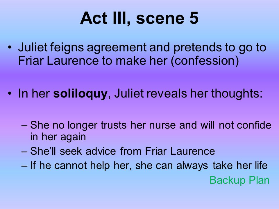 Act III, scene 5 Juliet feigns agreement and pretends to go to Friar Laurence to make her (confession) In her soliloquy, Juliet reveals her thoughts: