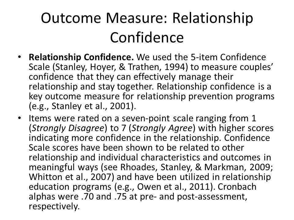 Outcome Measure: Relationship Confidence Relationship Confidence.