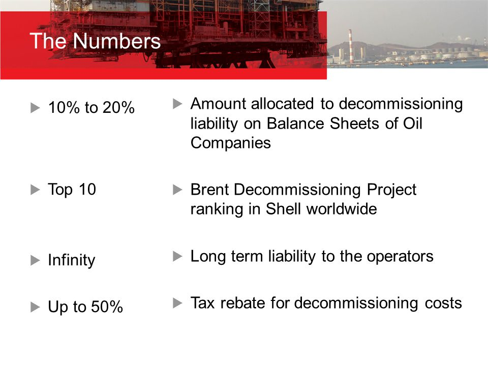  10% to 20%  Top 10  Infinity  Up to 50%  Amount allocated to decommissioning liability on Balance Sheets of Oil Companies  Brent Decommissioning Project ranking in Shell worldwide  Long term liability to the operators  Tax rebate for decommissioning costs The Numbers