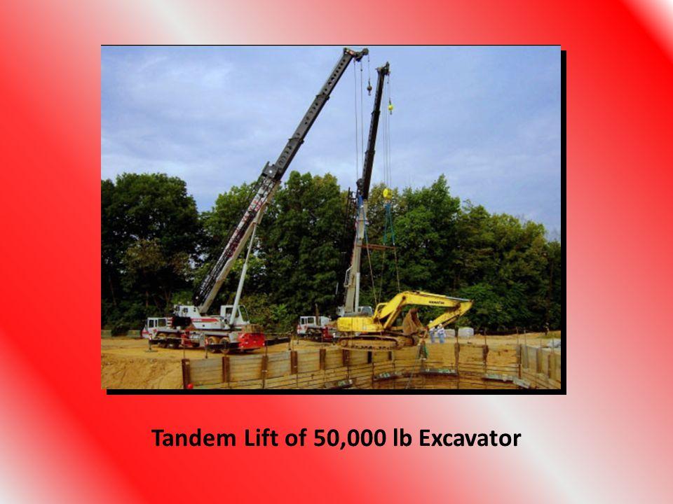 Tandem Lift of 50,000 lb Excavator