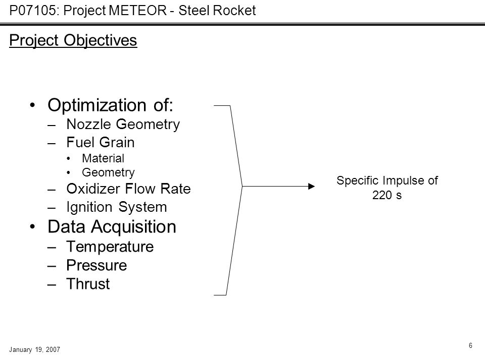 P07105: Project METEOR - Steel Rocket January 19, 2007 6 Optimization of: –Nozzle Geometry –Fuel Grain Material Geometry –Oxidizer Flow Rate –Ignition