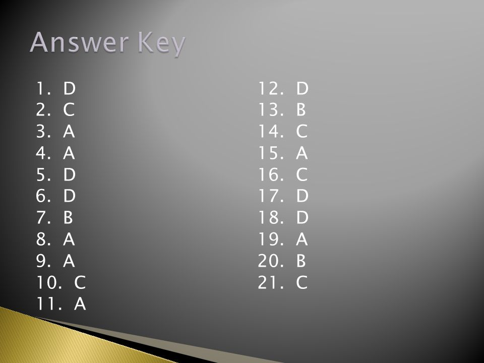 1.D 2. C 3. A 4. A 5. D 6. D 7. B 8. A 9. A 10. C 11.
