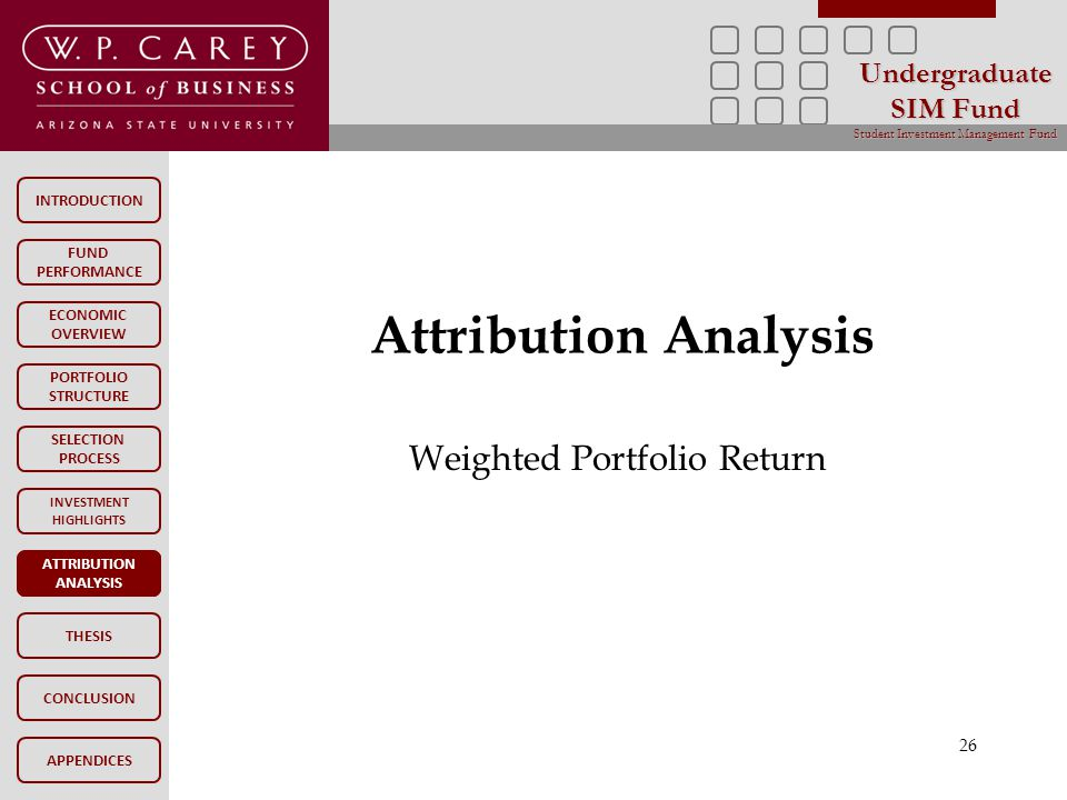 INTRODUCTION FUND PERFORMANCE PORTFOLIO STRUCTURE SELECTION PROCESS INVESTMENT HIGHLIGHTS ATTRIBUTION ANALYSIS CONCLUSION ECONOMIC OVERVIEW APPENDICES Undergraduate SIM Fund Student Investment Management Fund THESIS Attribution Analysis ATTRIBUTION ANALYSIS 26 Weighted Portfolio Return