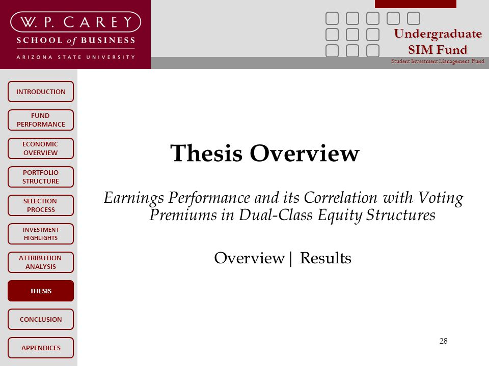 INTRODUCTION FUND PERFORMANCE PORTFOLIO STRUCTURE SELECTION PROCESS INVESTMENT HIGHLIGHTS ATTRIBUTION ANALYSIS CONCLUSION ECONOMIC OVERVIEW APPENDICES Undergraduate SIM Fund Student Investment Management Fund THESIS Thesis Overview THESIS 28 Earnings Performance and its Correlation with Voting Premiums in Dual-Class Equity Structures Overview| Results