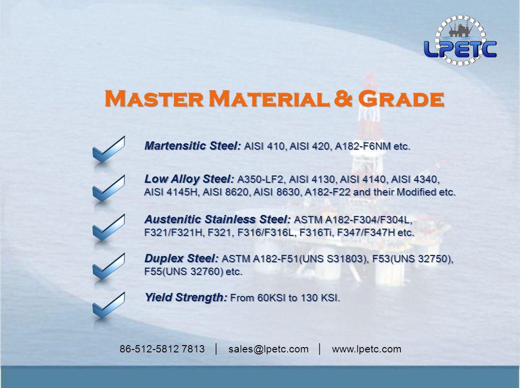 86-512-5812 7813 │ sales@lpetc.com │ www.lpetc.com Master Material & Grade Martensitic Steel: AISI 410, AISI 420, A182-F6NM etc.