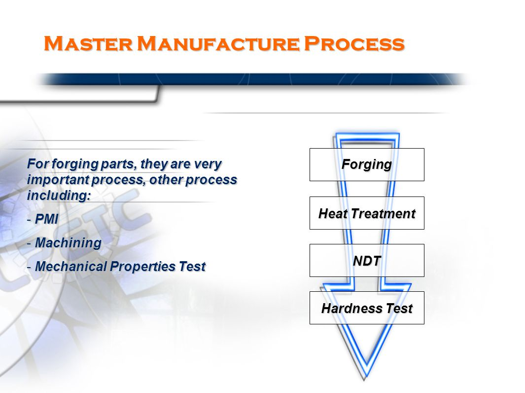 Master Manufacture Process For forging parts, they are very important process, other process including: - PMI - Machining - Mechanical Properties Test Forging Heat Treatment NDT Hardness Test