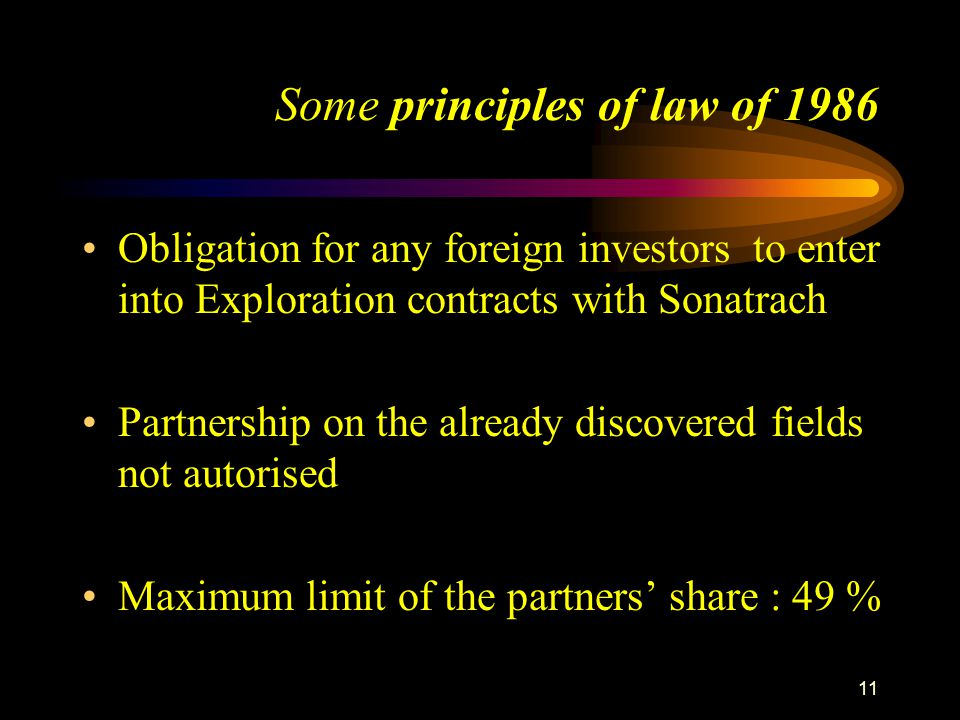12 Some principles of law of 1986 Monopoly on transportation by pipeline Entitlement only to liquid hydrocarbons (equity) no equity on gas no recourse to the arbitration