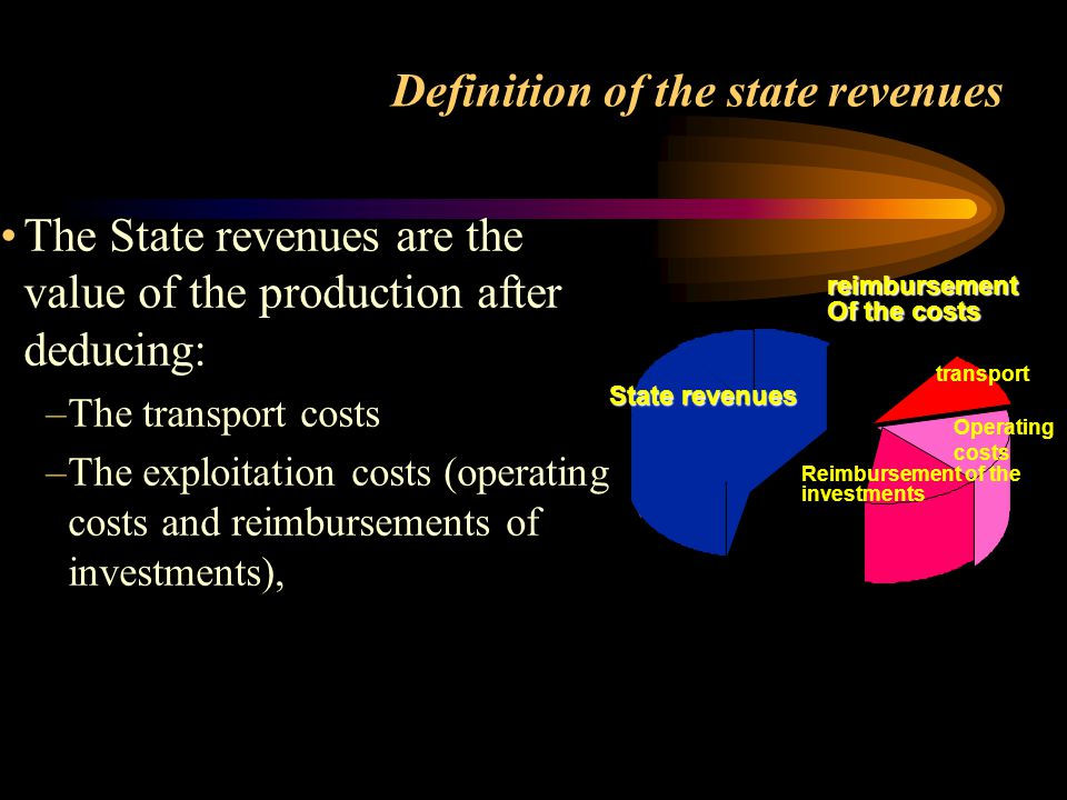 Definition of the state revenues The State revenues are the value of the production after deducing: –The transport costs –The exploitation costs (oper