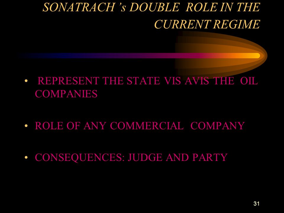 31 SONATRACH 's DOUBLE ROLE IN THE CURRENT REGIME REPRESENT THE STATE VIS AVIS THE OIL COMPANIES ROLE OF ANY COMMERCIAL COMPANY CONSEQUENCES: JUDGE AN