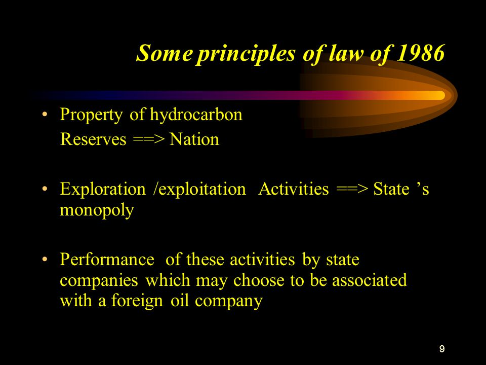 9 Some principles of law of 1986 Property of hydrocarbon Reserves ==> Nation Exploration /exploitation Activities ==> State 's monopoly Performance of