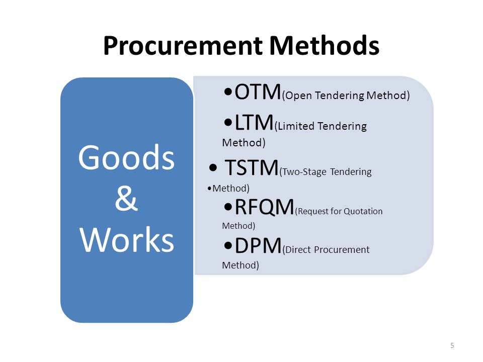 Procurement Methods for Services Quality & Cost Based Selection(QCBS) QCBS is the preferred method and it is based on the quality of the Proposal and the cost of the Services.