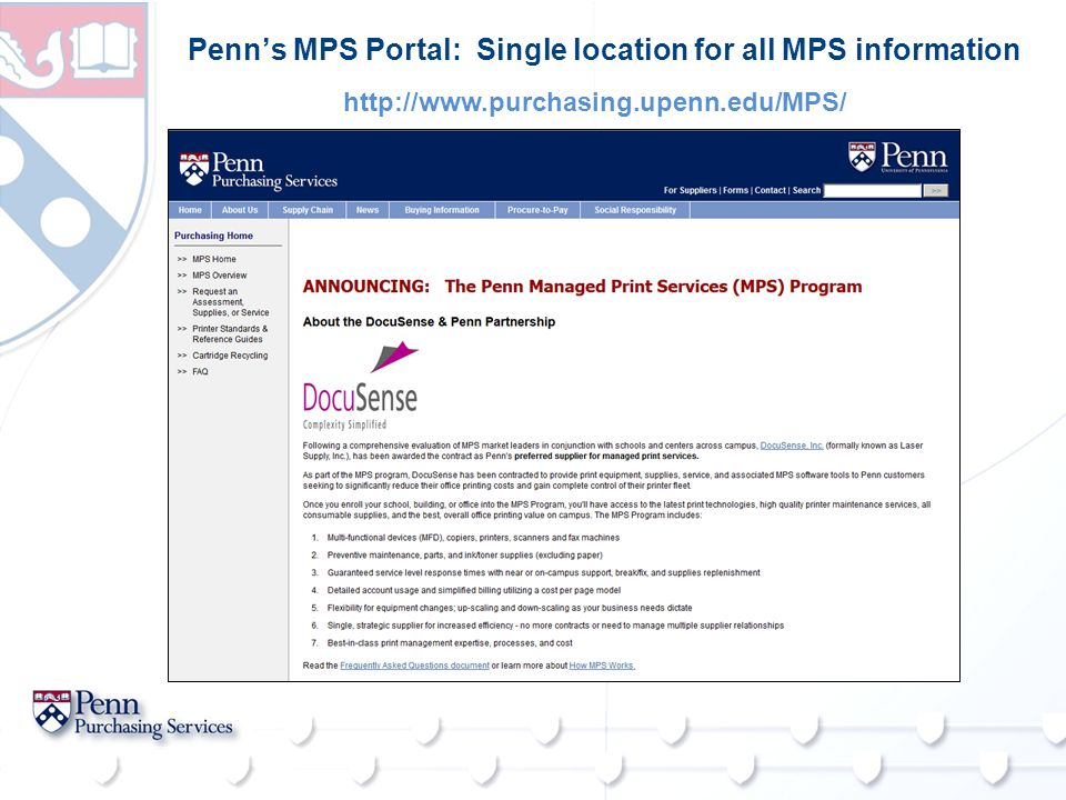 Penn's MPS Portal: Single location for all MPS information