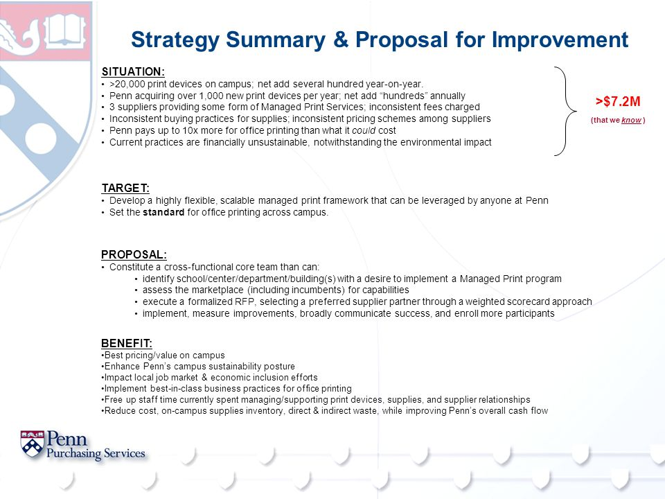 Strategy Summary & Proposal for Improvement TARGET: Develop a highly flexible, scalable managed print framework that can be leveraged by anyone at Penn Set the standard for office printing across campus.