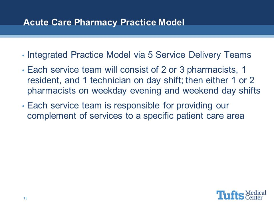 Acute Care Pharmacy Practice Model Integrated Practice Model via 5 Service Delivery Teams Each service team will consist of 2 or 3 pharmacists, 1 resi