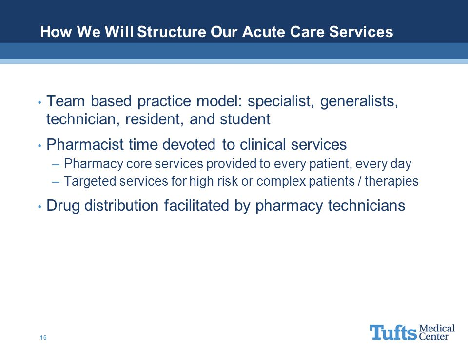 How We Will Structure Our Acute Care Services Team based practice model: specialist, generalists, technician, resident, and student Pharmacist time de