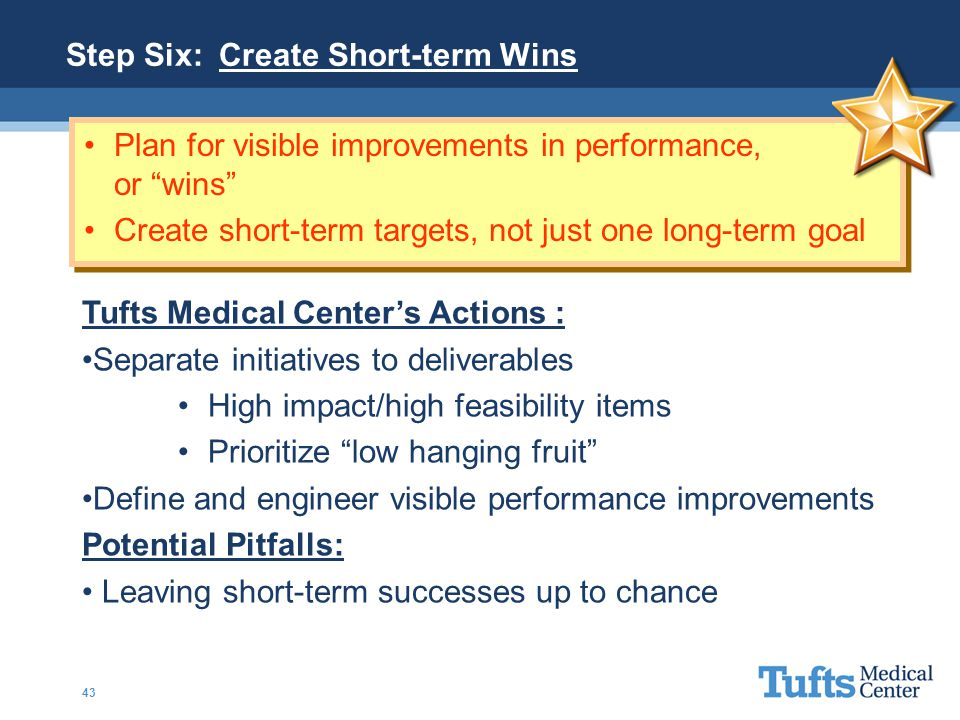 """Plan for visible improvements in performance, or """"wins"""" Create short-term targets, not just one long-term goal Tufts Medical Center's Actions : Separa"""