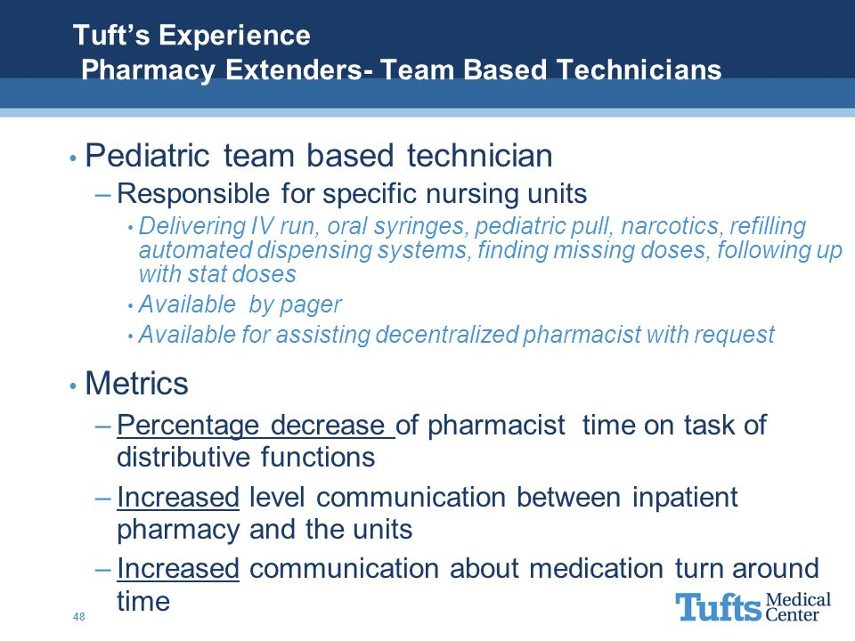 Tuft's Experience Pharmacy Extenders- Team Based Technicians Pediatric team based technician –Responsible for specific nursing units Delivering IV run