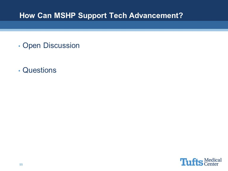 How Can MSHP Support Tech Advancement? Open Discussion Questions 55