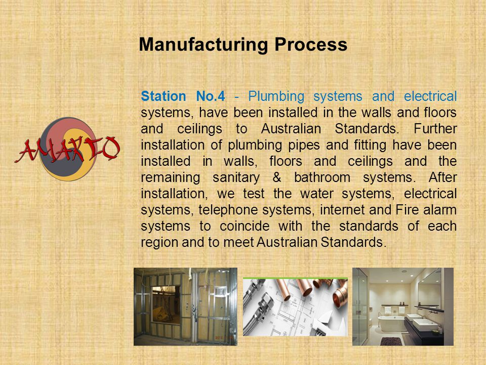 Manufacturing Process Station No.4 - Plumbing systems and electrical systems, have been installed in the walls and floors and ceilings to Australian S