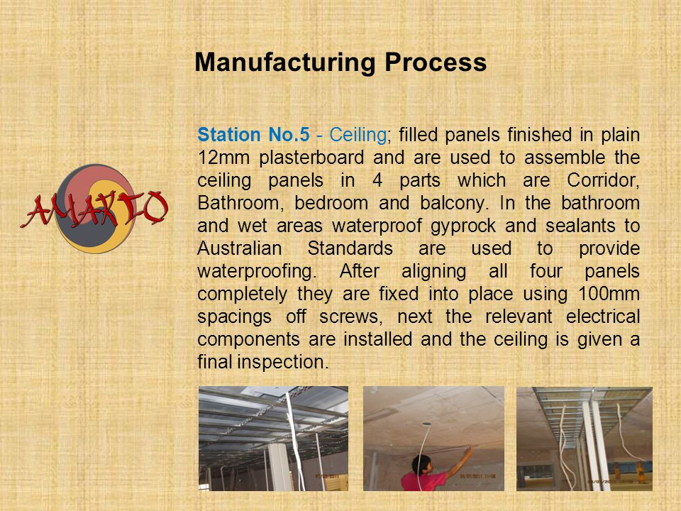 Manufacturing Process Station No.5 - Ceiling; filled panels finished in plain 12mm plasterboard and are used to assemble the ceiling panels in 4 parts