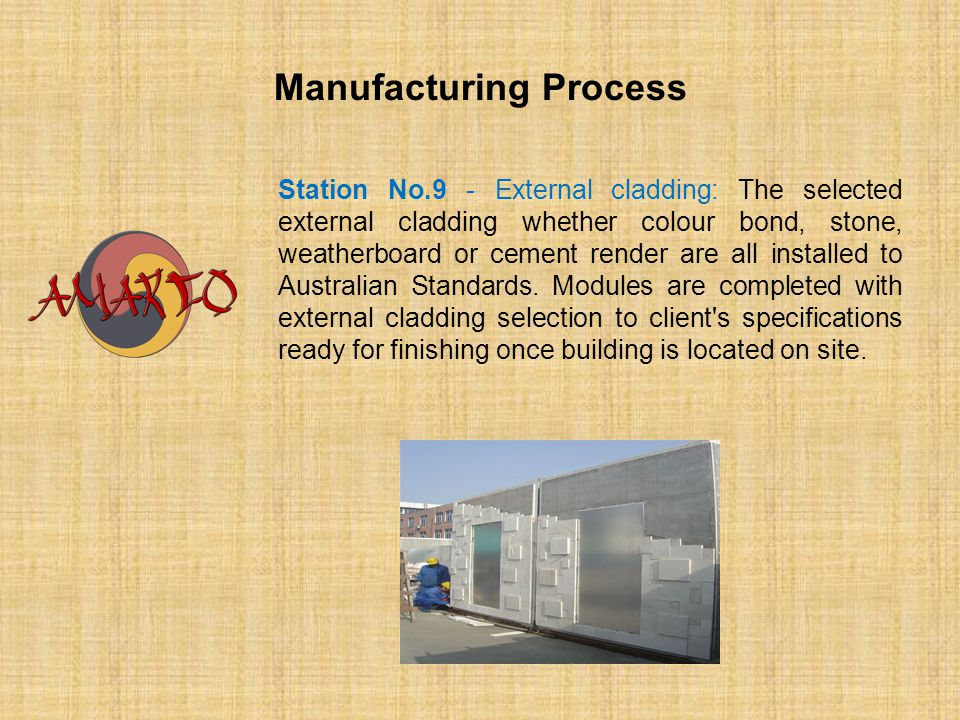 Manufacturing Process Station No.9 - External cladding: The selected external cladding whether colour bond, stone, weatherboard or cement render are a