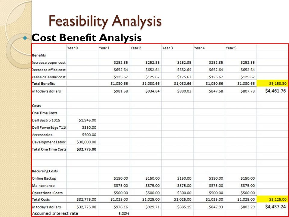 Feasibility Analysis Cost Benefit Analysis