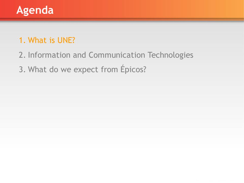 Agenda 1.What is UNE 2.Information and Communication Technologies 3.What do we expect from Épicos
