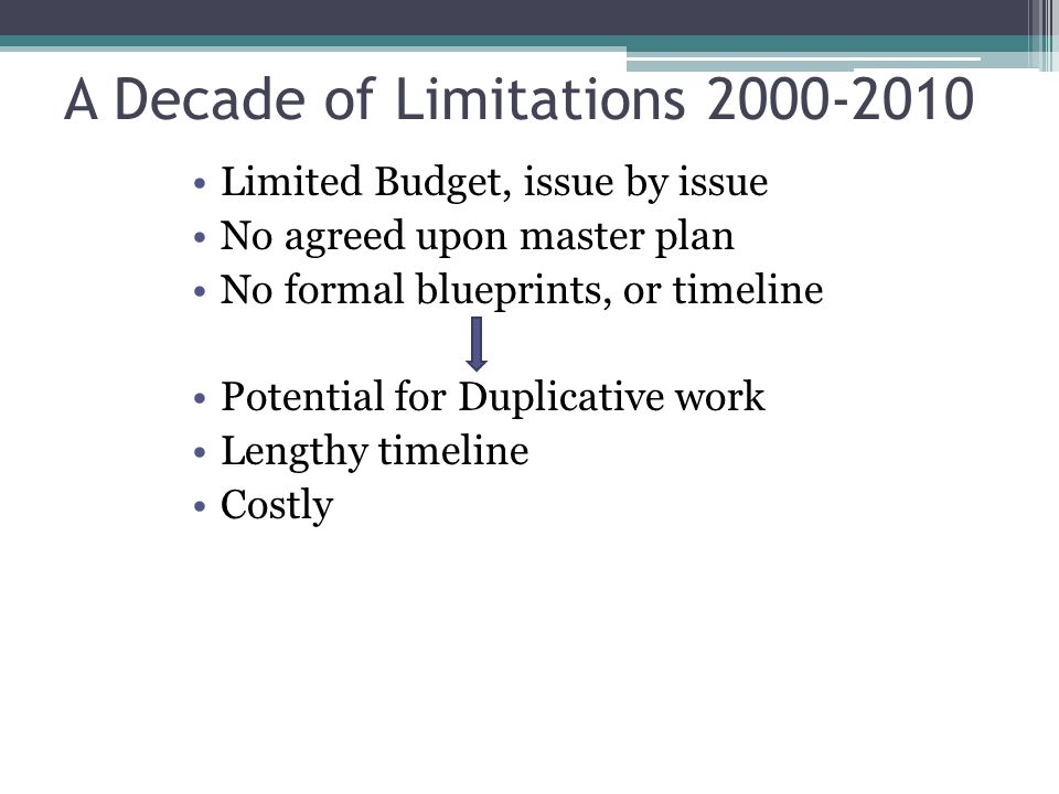 A Decade of Limitations 2000-2010 Limited Budget, issue by issue No agreed upon master plan No formal blueprints, or timeline Potential for Duplicative work Lengthy timeline Costly