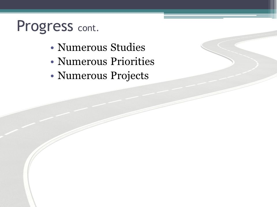 Progress cont. Numerous Studies Numerous Priorities Numerous Projects