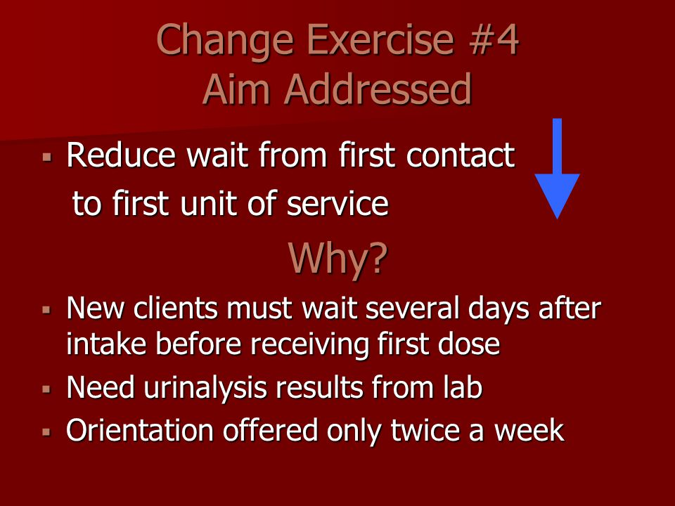 Change Exercise #4 Aim Addressed  Reduce wait from first contact to first unit of service to first unit of serviceWhy.