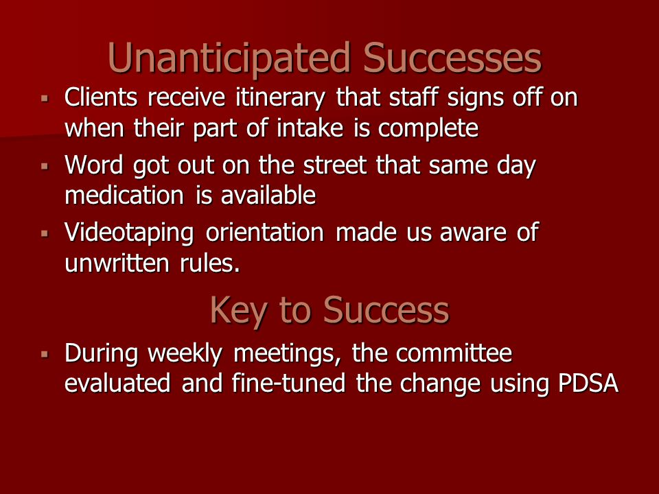 Unanticipated Successes  Clients receive itinerary that staff signs off on when their part of intake is complete  Word got out on the street that sa