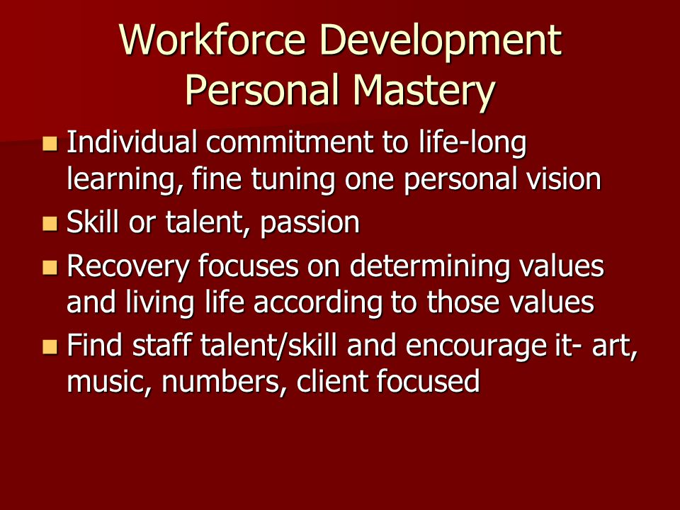 Workforce Development Personal Mastery Individual commitment to life-long learning, fine tuning one personal vision Individual commitment to life-long learning, fine tuning one personal vision Skill or talent, passion Skill or talent, passion Recovery focuses on determining values and living life according to those values Recovery focuses on determining values and living life according to those values Find staff talent/skill and encourage it- art, music, numbers, client focused Find staff talent/skill and encourage it- art, music, numbers, client focused