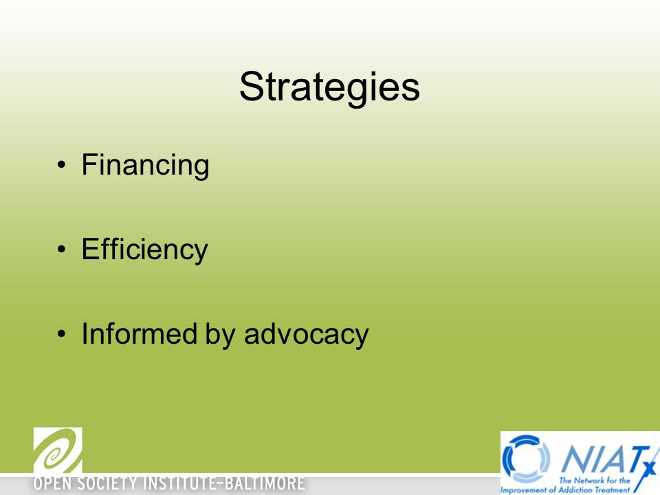 Strategies Financing Efficiency Informed by advocacy