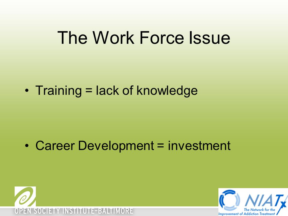 The Work Force Issue Training = lack of knowledge Career Development = investment