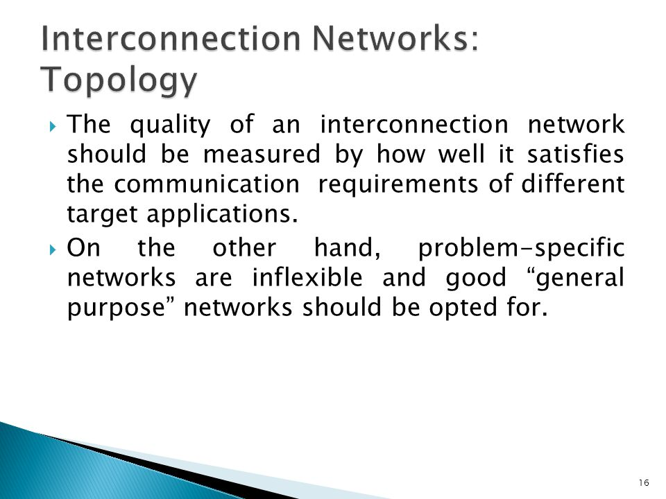  The quality of an interconnection network should be measured by how well it satisfies the communication requirements of different target applications.