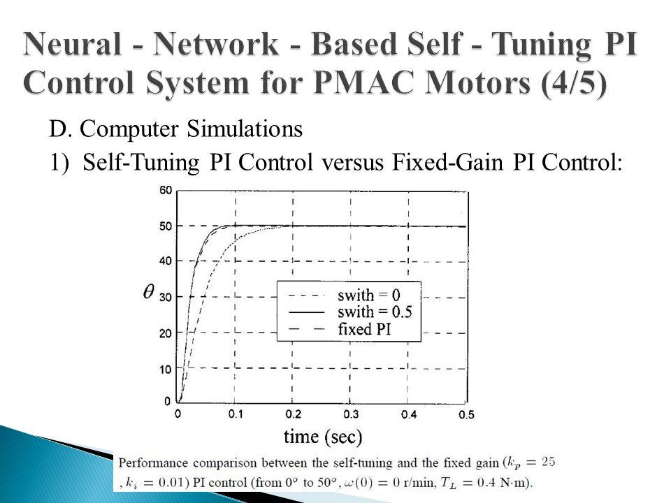 D. Computer Simulations 1) Self-Tuning PI Control versus Fixed-Gain PI Control: