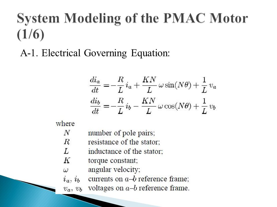 A-1. Electrical Governing Equation: