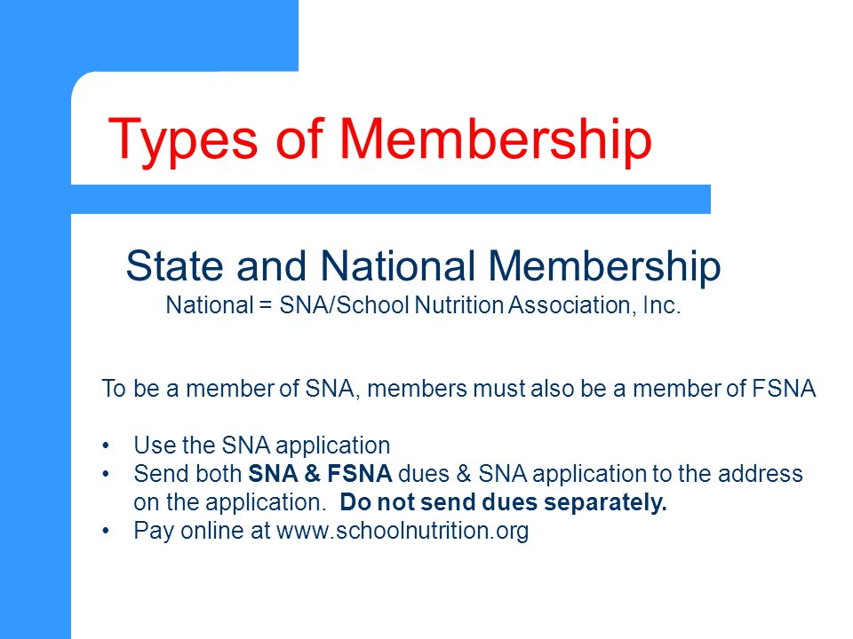 Types of Membership To be a member of SNA, members must also be a member of FSNA Use the SNA application Send both SNA & FSNA dues & SNA application to the address on the application.