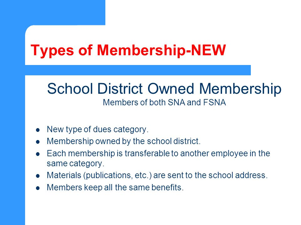 Types of Membership-NEW New type of dues category.
