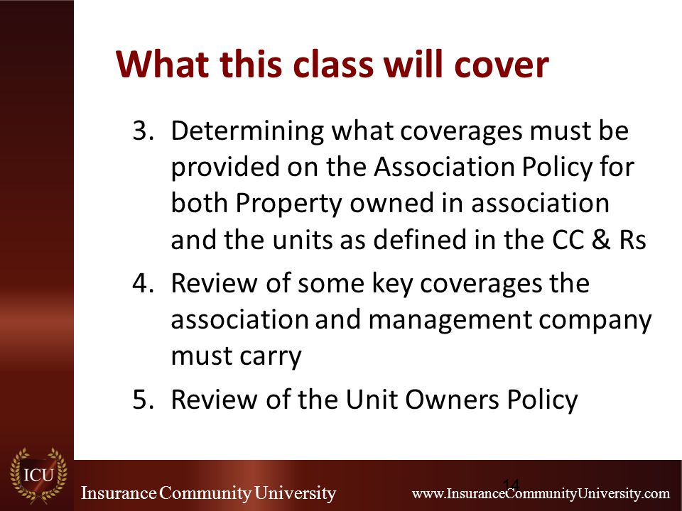 Insurance Community University www.InsuranceCommunityUniversity.com What this class will cover 3.Determining what coverages must be provided on the Association Policy for both Property owned in association and the units as defined in the CC & Rs 4.Review of some key coverages the association and management company must carry 5.Review of the Unit Owners Policy 14