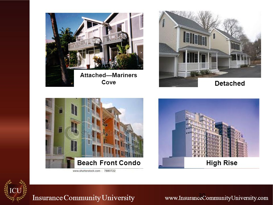 Insurance Community University www.InsuranceCommunityUniversity.com 30 Attached—Mariners Cove Detached High Rise Beach Front Condo