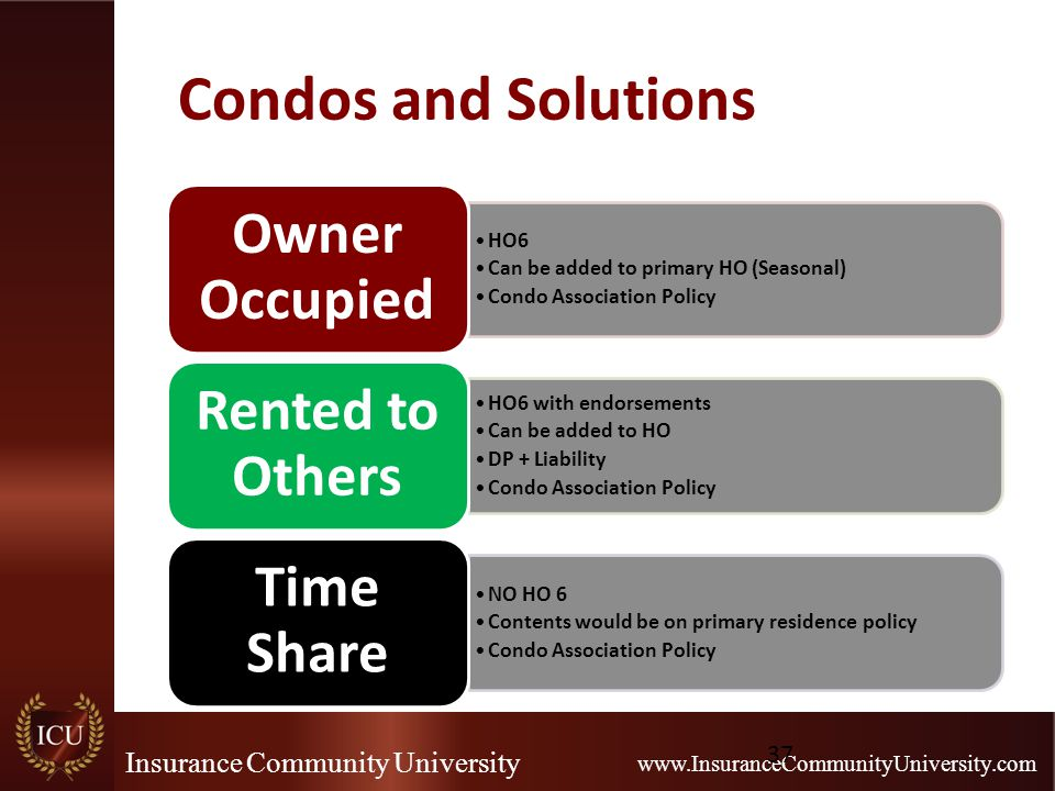 Insurance Community University www.InsuranceCommunityUniversity.com Condos and Solutions HO6 Can be added to primary HO (Seasonal) Condo Association Policy Owner Occupied HO6 with endorsements Can be added to HO DP + Liability Condo Association Policy Rented to Others NO HO 6 Contents would be on primary residence policy Condo Association Policy Time Share 37
