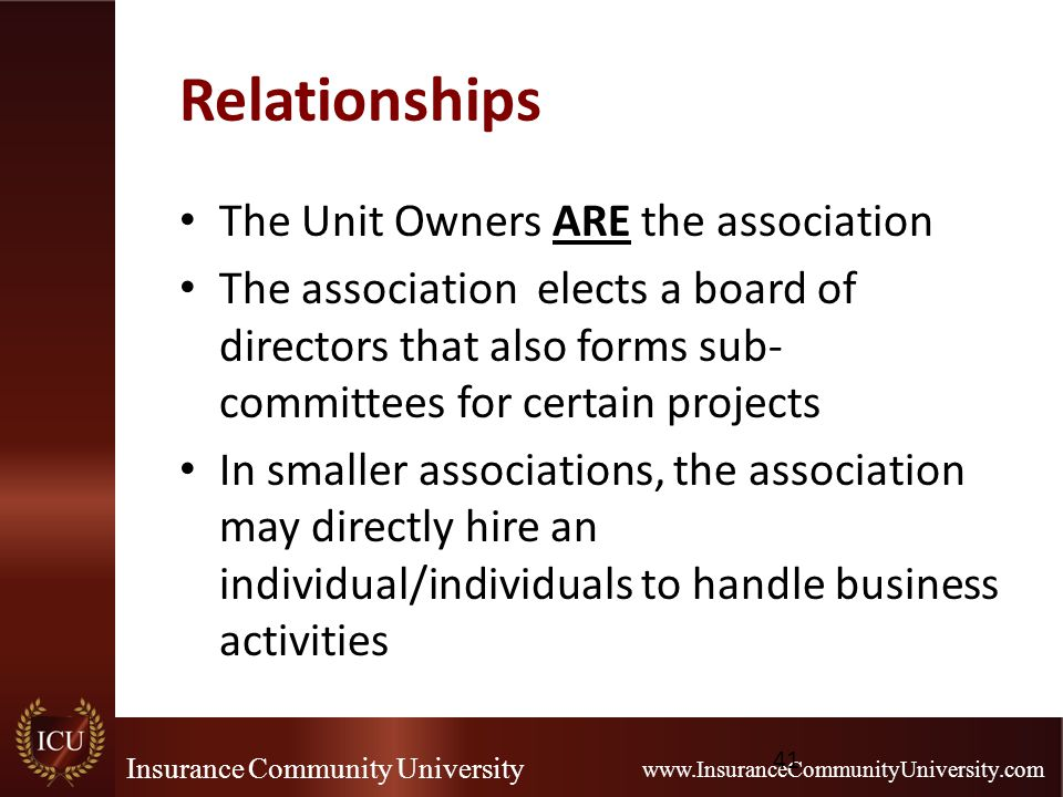 Insurance Community University www.InsuranceCommunityUniversity.com Relationships The Unit Owners ARE the association The association elects a board o