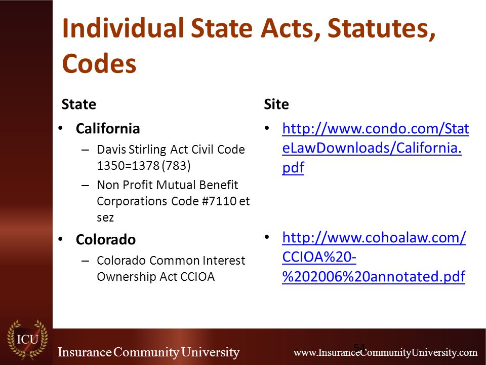 Insurance Community University www.InsuranceCommunityUniversity.com Individual State Acts, Statutes, Codes State California – Davis Stirling Act Civil Code 1350=1378 (783) – Non Profit Mutual Benefit Corporations Code #7110 et sez Colorado – Colorado Common Interest Ownership Act CCIOA Site http://www.condo.com/Stat eLawDownloads/California.
