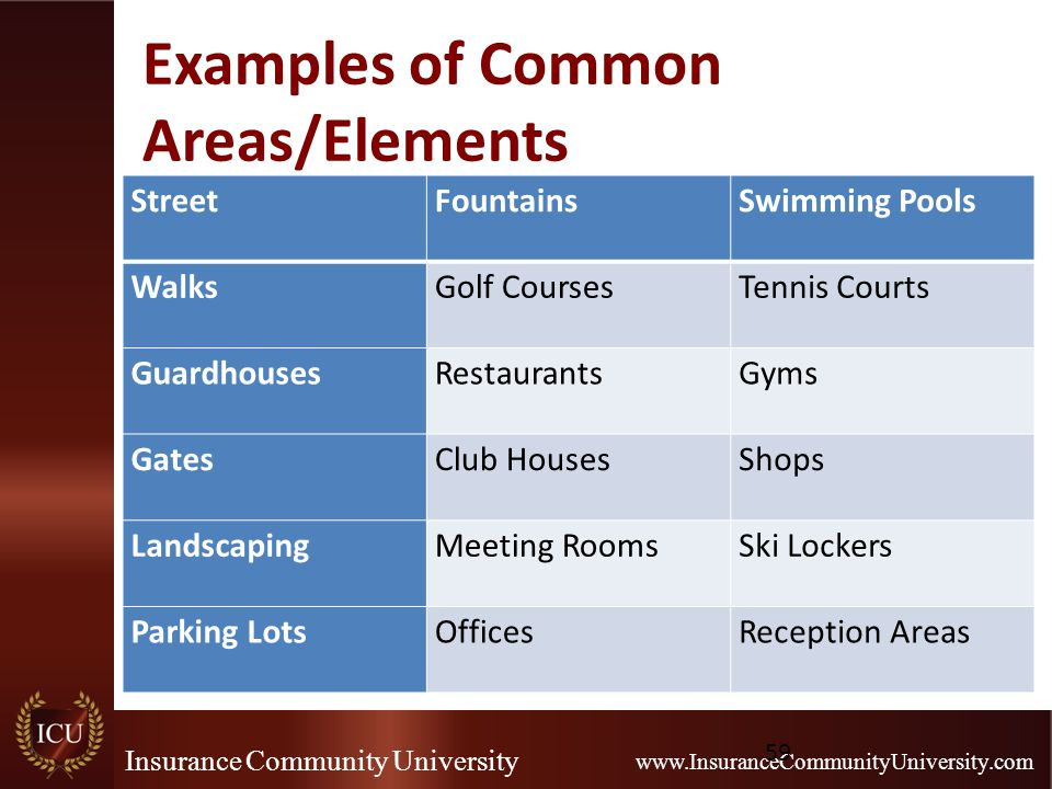 Insurance Community University www.InsuranceCommunityUniversity.com Examples of Common Areas/Elements StreetFountainsSwimming Pools WalksGolf CoursesTennis Courts GuardhousesRestaurantsGyms GatesClub HousesShops LandscapingMeeting RoomsSki Lockers Parking LotsOfficesReception Areas 59