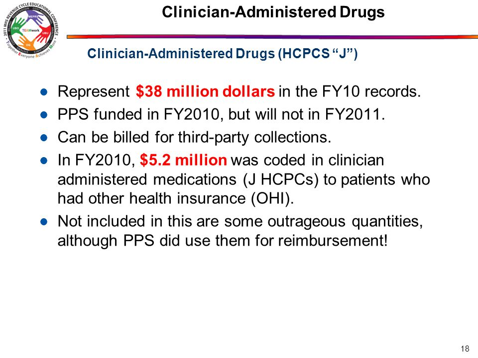 18 Clinician-Administered Drugs Represent $38 million dollars in the FY10 records.
