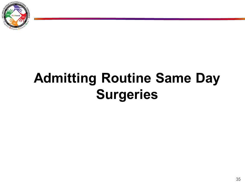 Admitting Routine Same Day Surgeries 35