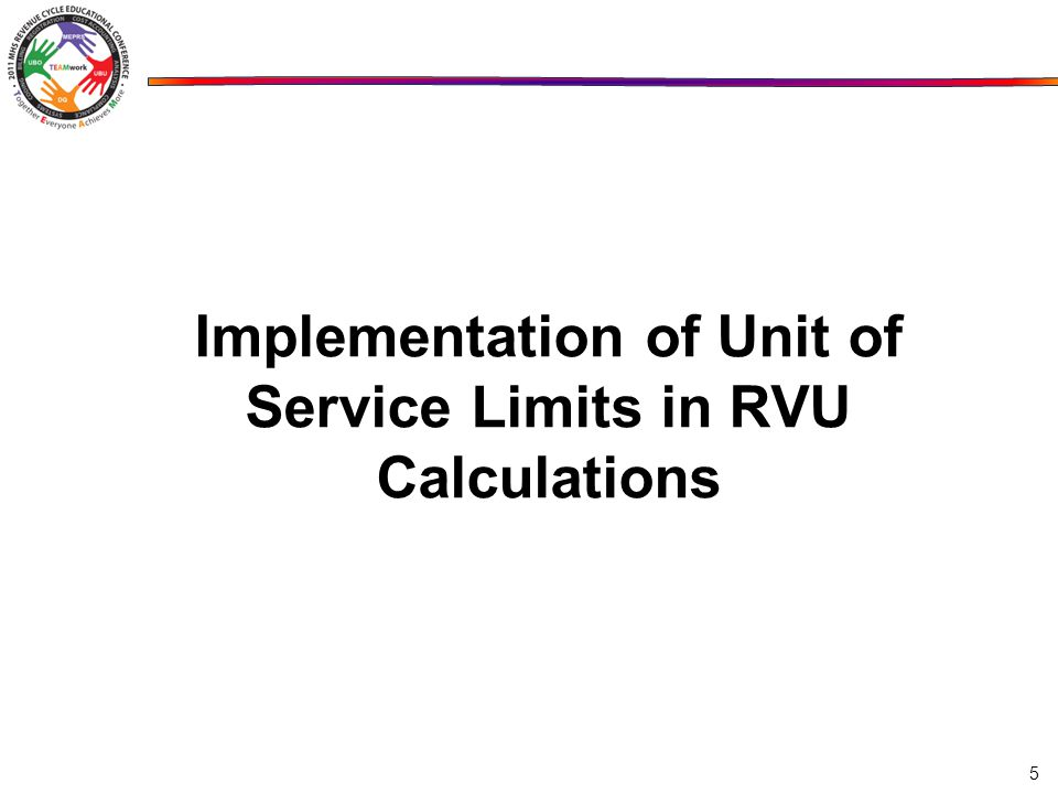 Implementation of Unit of Service Limits in RVU Calculations 5